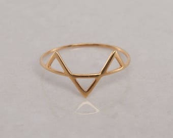 Moreno - Thin Dainty Rings - V Ring - Geometric Jewelry
