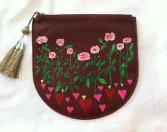 CUSTOM-Leather Pouch Purse, Hand Painted