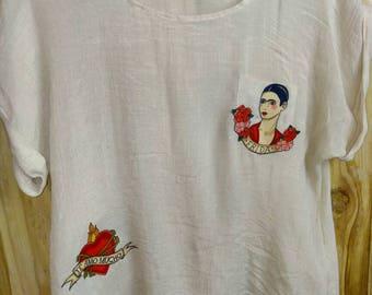 Frida Kahlo top - Preloved to Reloved - beige frida summer top -