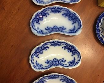 W.H. Grindley & Co. Blue Flow bone dishes - Set of 4