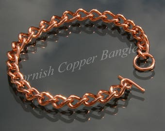 Solid Copper Ladies Chain Link Bracelet