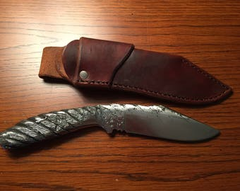 Hand Forged Cable Damascus Modified Clip Point Knife