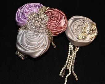 Elegant COMBO Bridesmaid Made of Honor Groom  Corsage and Boutonniere Brooch Rhinestone