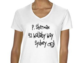 Disney's Finding Nemo Inspired P Sherman 42 Wallaby Way Sydney Women's Graphic V-Neck T-Shirt