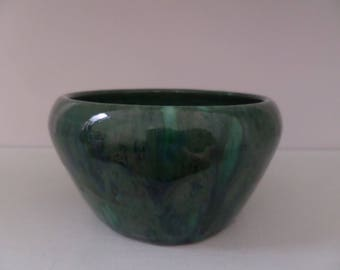 Dark Green and Emerald Green Glazed Ceramic Bowl