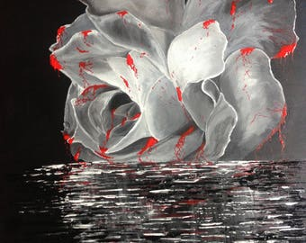 White rose painting Black and white art Original acrylic painting ready to hang Floral art Unique home wall decor NOT A PRINT Romantic gift