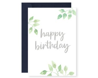 Happy Birthday Greeting Card (leaves)