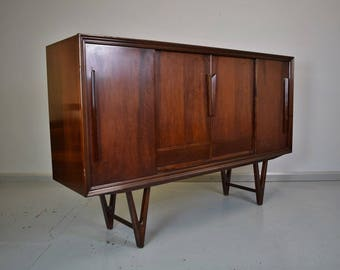 Mid Century Retro Danish Mahogany Sideboard Highboard with Cupboards & Drawers