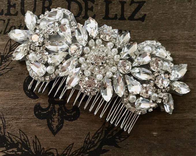 Wedding Hair Comb, Pearl and Rhinestone, Bridal Headpiece, Rhinestone Hairpiece, Hair Tiara, Hair Jewelry, Bridesmaid, Hair Accessory