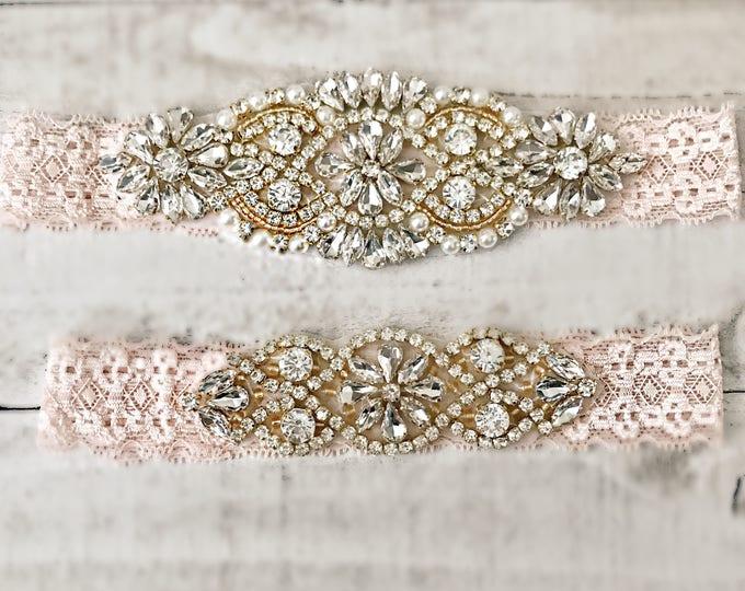Blush Bridal Garter, NO SLIP Lace Wedding Garter Set, bridal garter set, vintage rhinestones, pearl and rhinestone garter set