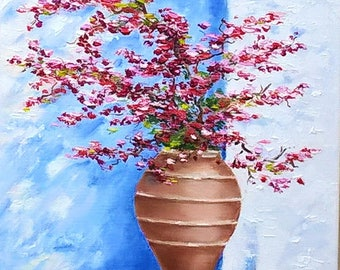 Oil painting Still life painting Bougainvillea wall art Flowers wall art Bouquet painting Bougainvillea painting Small wall art Original art