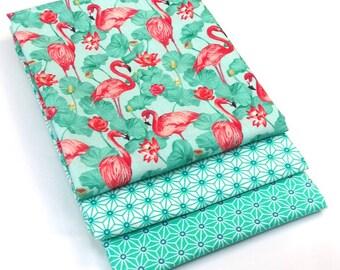 3 cut Fat Quarter 50 cm x 50 cm - fabric flamingos exotic - Flamingo fabric - fabric Saki star asanoha - Japanese fabric-