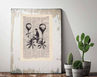 Print BALLOON-RIDER - antique book page - portrait