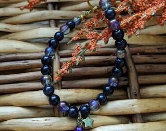 Black and Purple Bracelet, Purple Bracelet, Glitter Bracelet, Valentine's Gift For Her, Black Bracelet, Bead Bracelet | Jewelry for a Cause