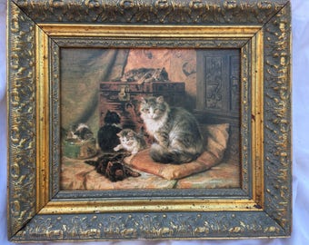 PROUD MOTHER by Henriette Ronner Knip - Vintage Gold Framed Canvas Cat Art Print