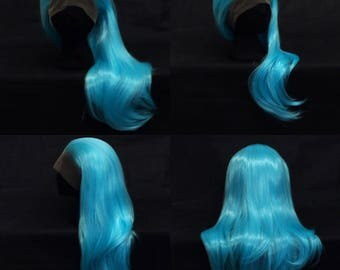 Bright blue lace front wig