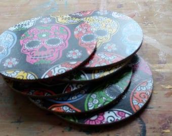 Set of 4 Sugar Skull Coasters, decoupaged coasters, round coasters, cork backed