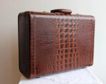 Vintage Eveleigh suitcase with embossed crocodile look leather