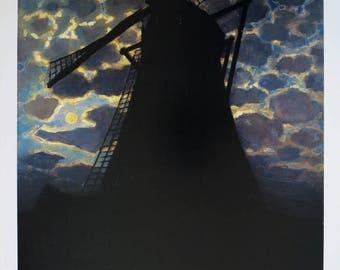 Piet Mondrian exhibition poster - Dutch Windmill in the evening - vintage museum print - landscape - mondriaan modern art holland polder