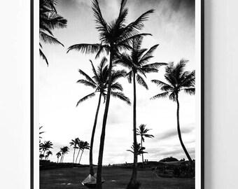 Palm Print, Black and White Photography, Minimal photo, Palm Wall Art, Tropical art, Minimalist Print, Scandinavian Printable Art, Modern
