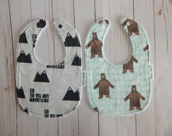 Baby Boy bibs, Bear bibs, Kid you will move mountains -Modern baby boy bibs, drool bibs set, Baby shower gift