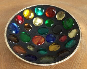 Vintage Mid Century Coloured Glass Pebble Mosaic Trinket Bowl, Candy Dish