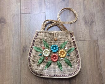 Vintage 80's Woven Fiber, Seagrass  Shoulder, Bag with Embroidered Raffia Flowers - bright colours, dimensional, Made in Philippines