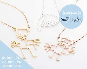 Your Children's Drawing Necklace, Drawing Jewelry, Kid's Art Necklace, Child's Artwork Necklace, Art jewelry, Necklace in Rose gold, Silver