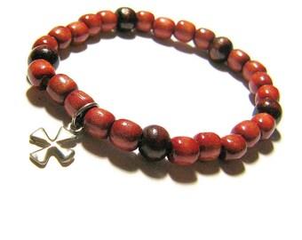 Cross Bracelet, Catholic Bracelet, Christian Bracelet, Religious Jewelry, Wood Bracelet, Stretch Bracelet, Fashion Jewelry