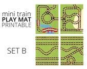 Mini Train Printable Play Mat - Set B. Train Birthday Party and Preschool Printable