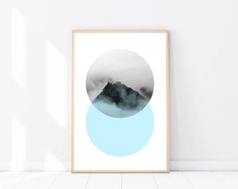 Abstract Art PRINT, Geometric Poster, Modern Minimalist, Mid Century Print, Scandinavian Poster, Geometric, Mountain Print, Blue Wall Art