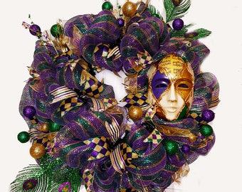 Mardi Gras Wreath, Mardi Gras Door Wreath, Mardi Gras Decorations, Mardi Gras Mask Wreath, Mardi Gras Wreath for Door Mardi Gras Door Hanger