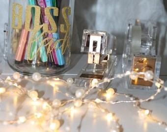 Boss Lady Glass Mason Jar Pen Holder, Desk accessories, Inspirational, Desk, Motivational desk accessories, Pen  holder, Mason Jar holder