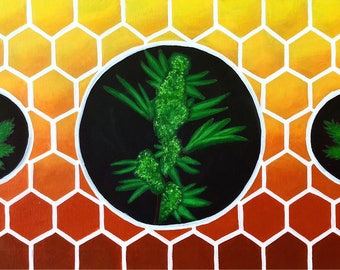 Honey Comb Cannabis PRINT