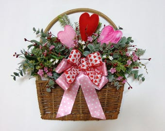 Valentine's Day Grapevine Flat Wall Basket-Heart and Pip Berries Valentine Decoration-by Floramiagarden