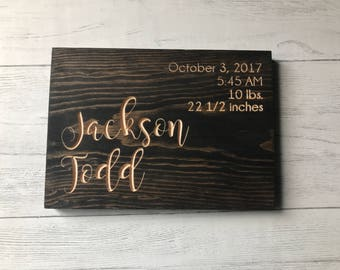 Baby Stat Sign | Birth Announcement | Baby Birth | Birth Stats | Nursery Decor | Baby Girl | Baby Boy | Baby Shower Gift | Gift for Parents