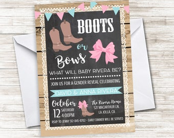 Boots or Bows Gender Reveal Invitation Invite 5x7 Party Digital Chalkboard Rustic Country