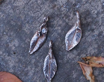 Silver elm leaf charm (without stone)
