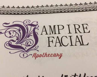 Vampire Facial Apothecary Page - Instant Download Book of Shadows Grimoire