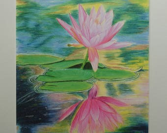 Lotus reflection art print from original artwork by Sarah Emmens