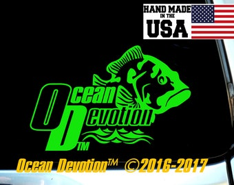 "Grouper Fish ""Ocean Devotion"" Vinyl Decal/Sticker-Beach Life, Salt Life, Surfing, Fishing, Offshore, Reel Life, Ocean, Sea Life, Car, Boat"