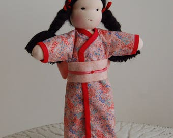 Ready to Ship, Japanese Waldorf Inspired Doll in Pink Kimono