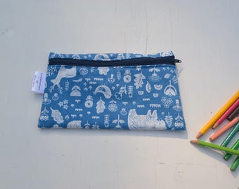 Pencil case, pencil case, school, art, handmade, pirate, blue, child, pencil, gift, toy