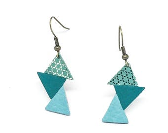 "Handmade earrings ""Les Deltas Origami"" blue, turquoise and gold leather"