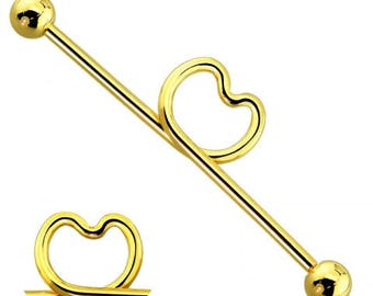 Gold Plated 316L Surgical Steel Heart Industrial Barbell with Balls