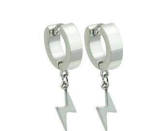 Pair of Stainless Steel Huggie/Hoop Earrings with Lightning Bolt Dangle