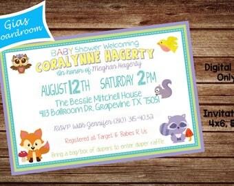 Woodland Animals Babyshower Invitations