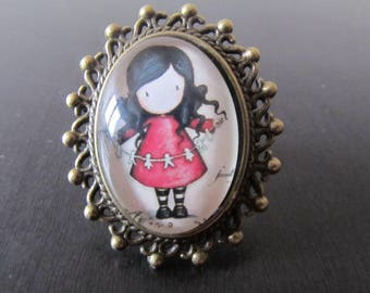 "Ring collection ""Girl"" ring adjustable brunette girl in red dress"