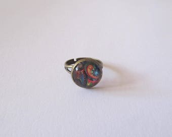 Colorful glass cabochon Adjustable ring
