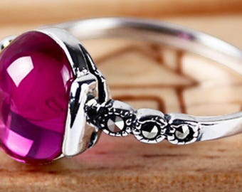 Vintage style, antique style inspired natural pink garnet ring,a promise ring